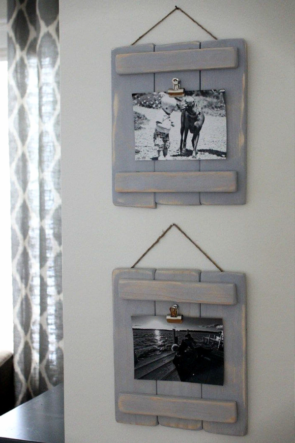 DIY Rustic Picture frams for rustic-style wall decorations - Easy DIY Rustic Home Decor Ideas on a Budget