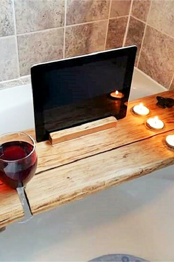 Bathub Shelf for wine, candles and ipad from old rustic wood shutter - Easy DIY Rustic Home Decor Ideas on a Budget