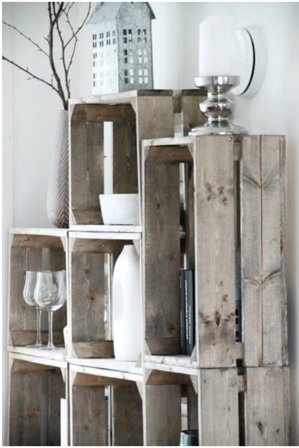 Rustic Crates as Wall Shelves - Easy DIY Rustic Home Decor Ideas on a Budget