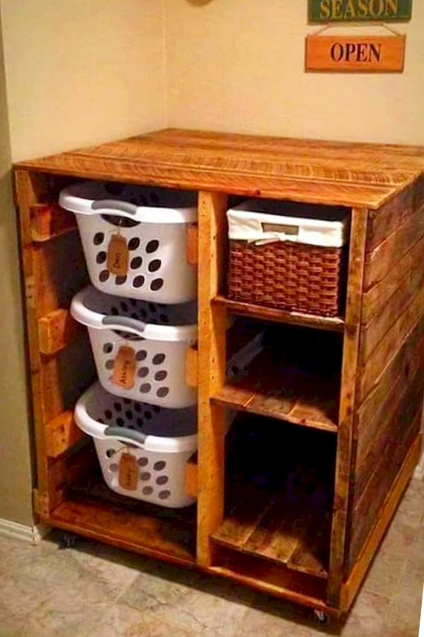Rustic Laundry Room Organizer for Laundry Baskets, shelves and more storage space - Easy DIY Rustic Home Decor Ideas on a Budget