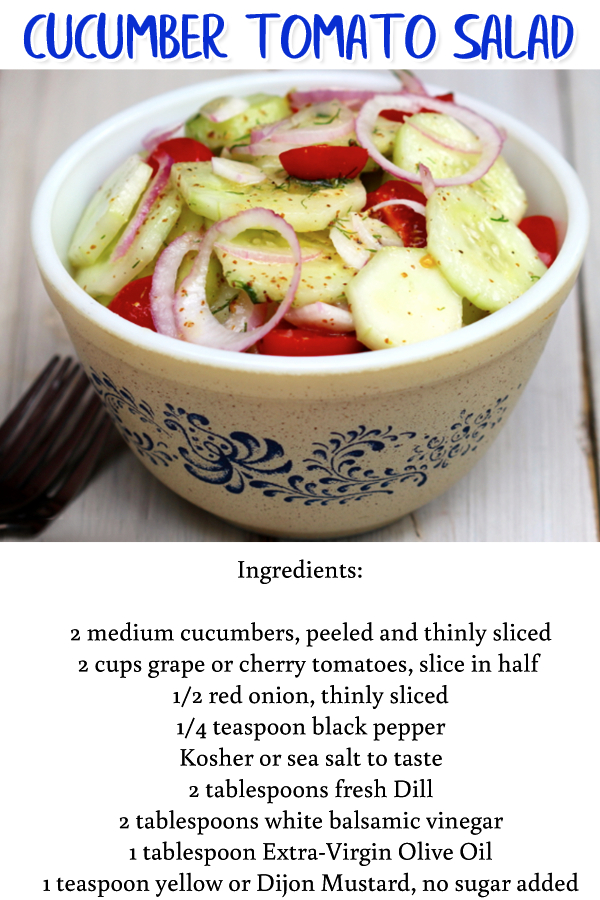 Summer Cookout Side Dish Ideas - Cucumber Tomato Salad - this easy BBQ party side dish is perfect for a large group and super easy to make - easy food ideas for family summer BBQ cookout or a neighborhood block party