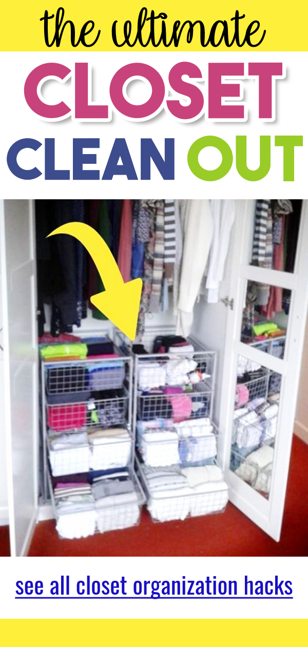 Closet Clean Out!  Let's learn how to organize your closet, how to organize hanging clothes and more DIY closet ideas for small closets, walk in closet, apartment closet or any bedroom closet that a cluttered mess.  Small closets can be hard to organize with limited closet storage space, but these closet organization ideas and organization hacks really help.  let's do this closet clean out, declutter clothes and Closet hacks ORGANIZING even for wardrobe closets