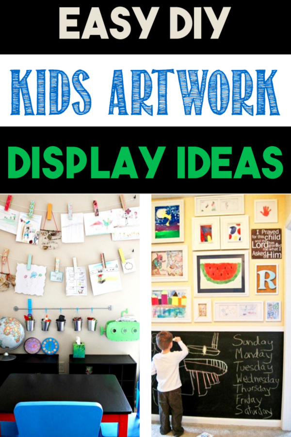 Kids Artwork Display Ideas - Creative ways ti save children's artwork with an easy DIY art display wall for hanging your kids art, crafts, homework and special items and displaying them on a wall.