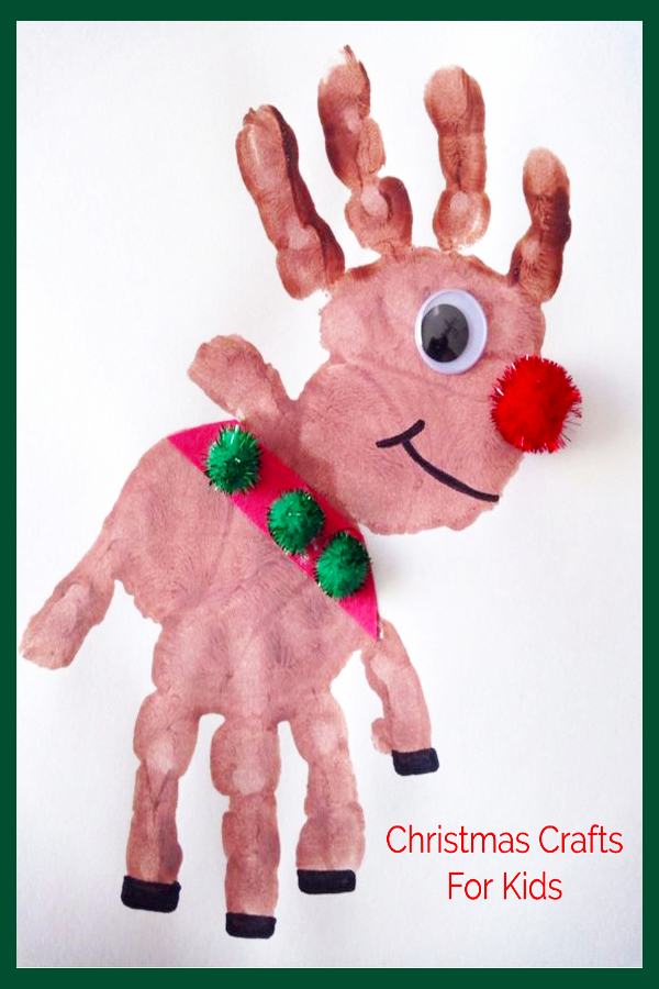 DIY Christmas Crafts and craft projects for Kids - Handprint reindeer finger painting idea.