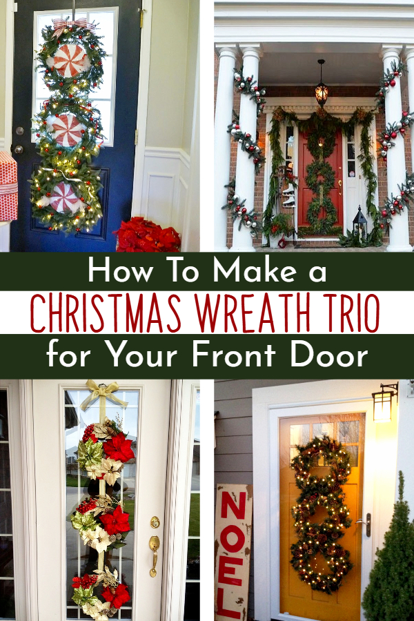 Christmas wreath trio ideas - how to make a triple Christmas wreath for your front door