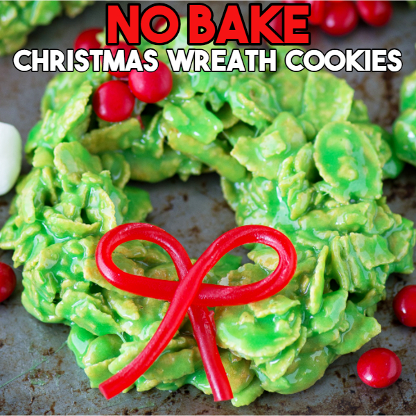 No Bake Christmas Cookie ideas - No Bake Wreath Cookies - Creative and Easy Christmas Desserts for a Party or for a Crowd