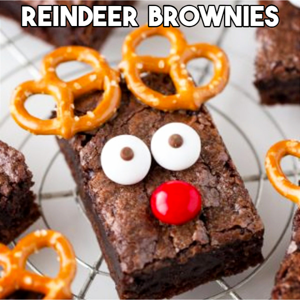 Christmas party brownie ideas - reindeer Christmas brownies - Creative and Easy Christmas Desserts for a Party or for a Crowd