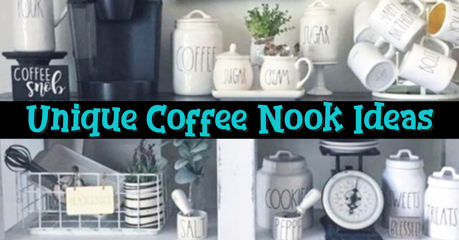 Coffee Nook Ideas We LOVE • </strong></center> These coffee nook ideas for small spaces in your kitchen are so cute - they're like a cozy corner in your kitchen!  I'm a big fan of farmhouse kitchen decor - more of a modern rustic type kitchen decor - so these kitchen coffee nooks are PERFECT for my house!