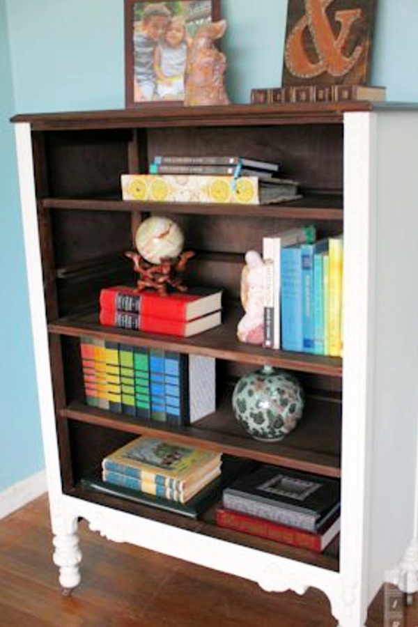 How to repurpose a dresser without drawers - DIY bookshelf from old dresser without drawers