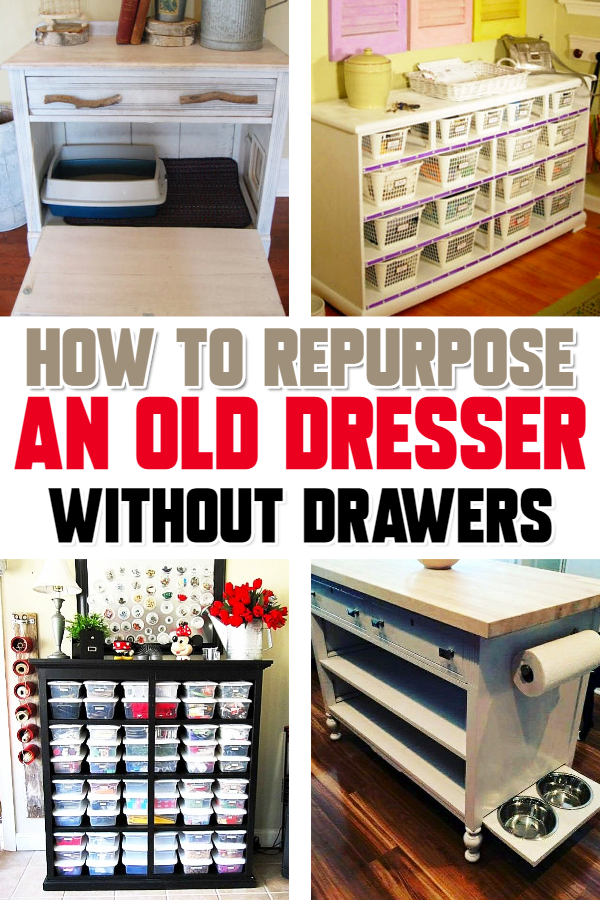 Repurposed dresser ideas - How to repurpose a dresser without drawers - Repurposed Old Dresser Ideas – How about some clever old dresser makeover ideas? Clever and CHEAP things to make from an old dresser without drawers or missing drawers – these ideas are SO creative!