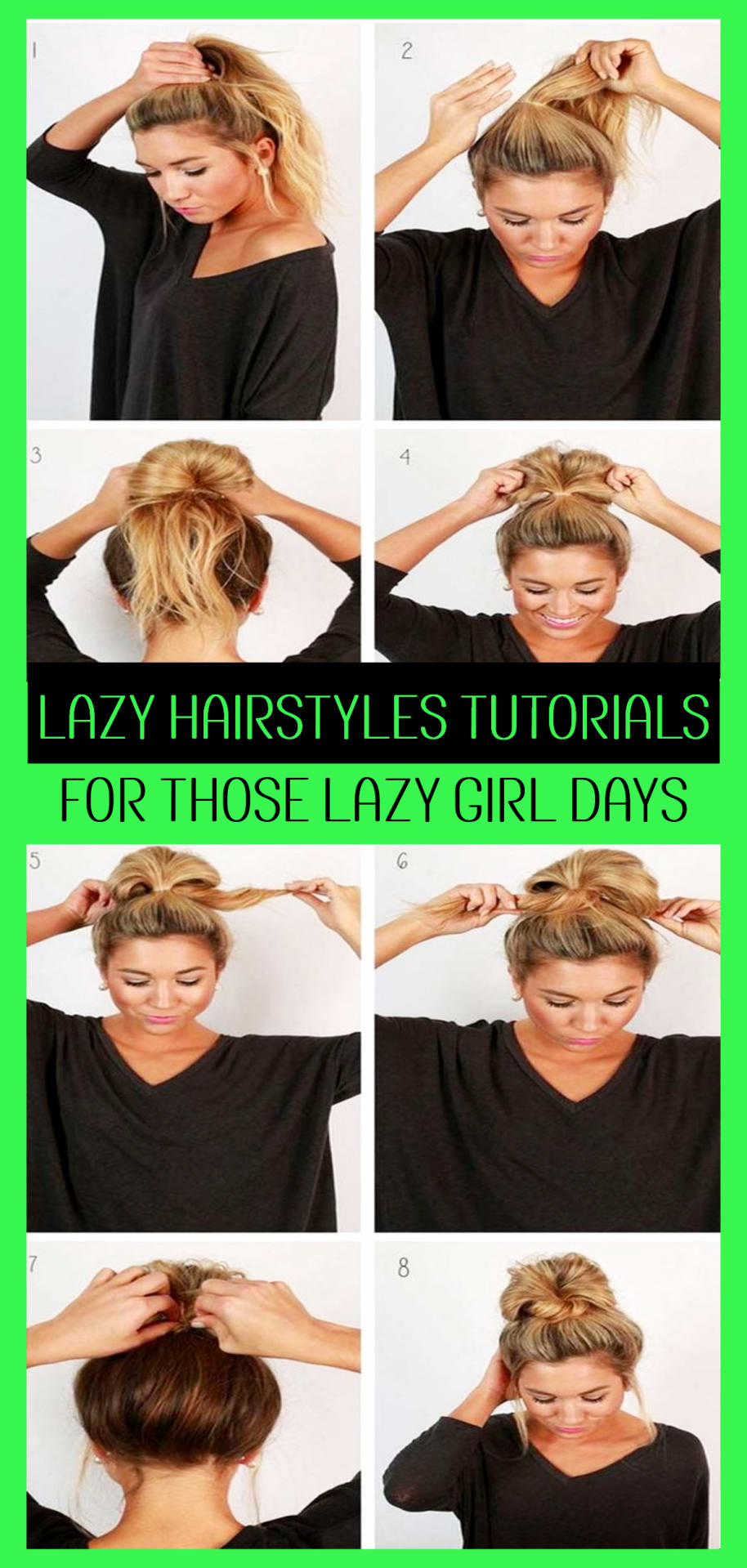 Lazy Hairstyles!  Quick messy lazy hairstyles for school or for work - easy messy bun hairstyles tutorials for lazy girls