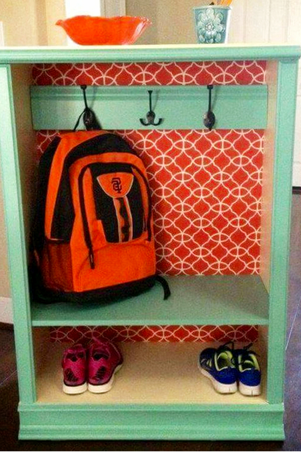 Repurposed old dresser ideas - how to repurpose a dresser without drawers - diy storage cabinet made from an old dresser for kids backpacks and more