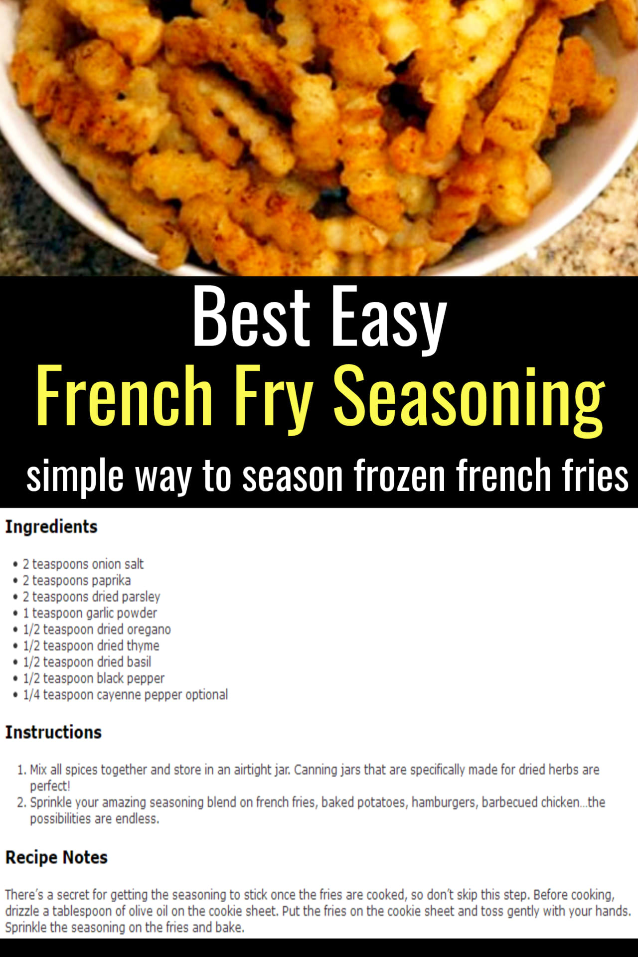 best easy french fry seasoning - recipe ideas for the family with picky eater kids