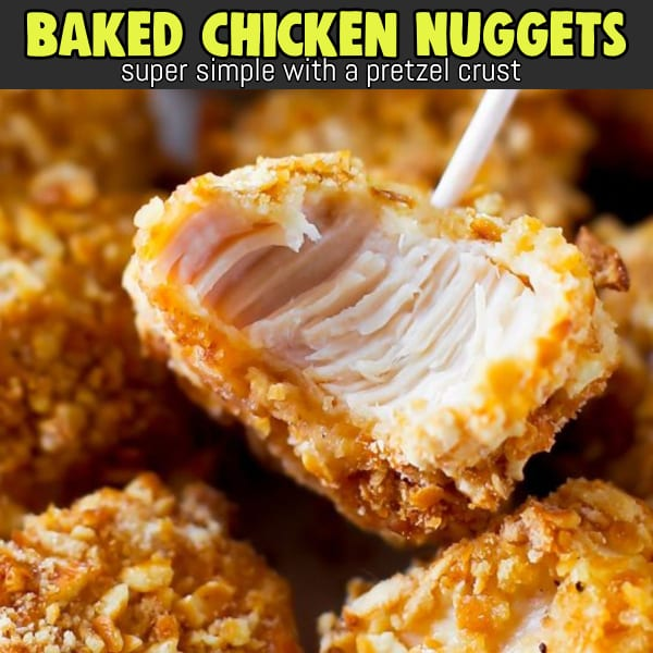 Easy appetizer ideas and recipes for a crowd - Simple chicken party appetizer ideas - BAKED Pretzel coated chicken nuggets - crowd-pleaser easy party appetizer ideas.