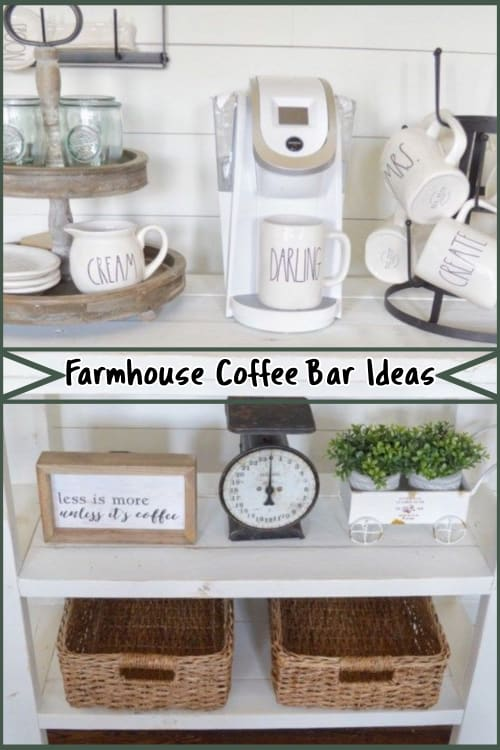 Gorgeous farmhouse style coffee bar ideas for a tea and coffee station set up in country farm style.  See LOTS of PICTURES and ideas for a farmhouse coffee bar at home.  Stunning old farmhouse kitchen decor for decorating on a budget.  See how to set up a coffee bar in your kitchen with these modern farmhouse coffee station accessories, cabinets, tables and more farmhouse coffee bar and coffee nook decor ideas.
