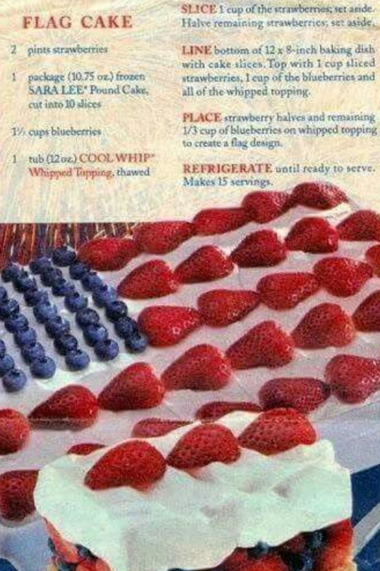 no bake flag cake recipe for 4th of July or memorial day
