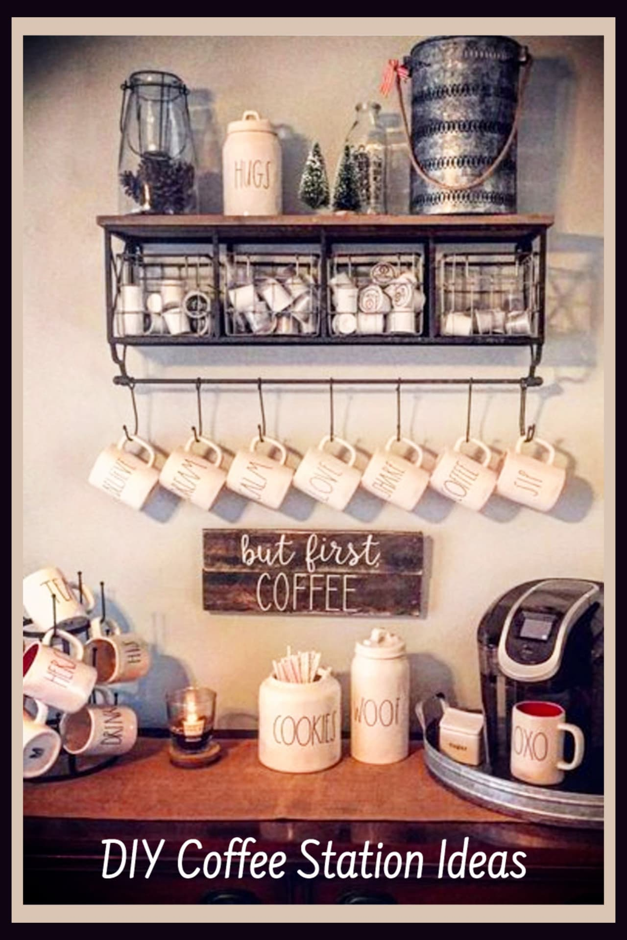 Coffee Bar Ideas - simple kitchen coffee bar ideas including small countertop coffee bar ideas and corner coffee bar ideas.  Gorgeous farmhouse coffee bars and rustic coffee bar coffee station ideas too.  Easy DIY coffee bar ideas for all size kitchens - even kitchens in apartments