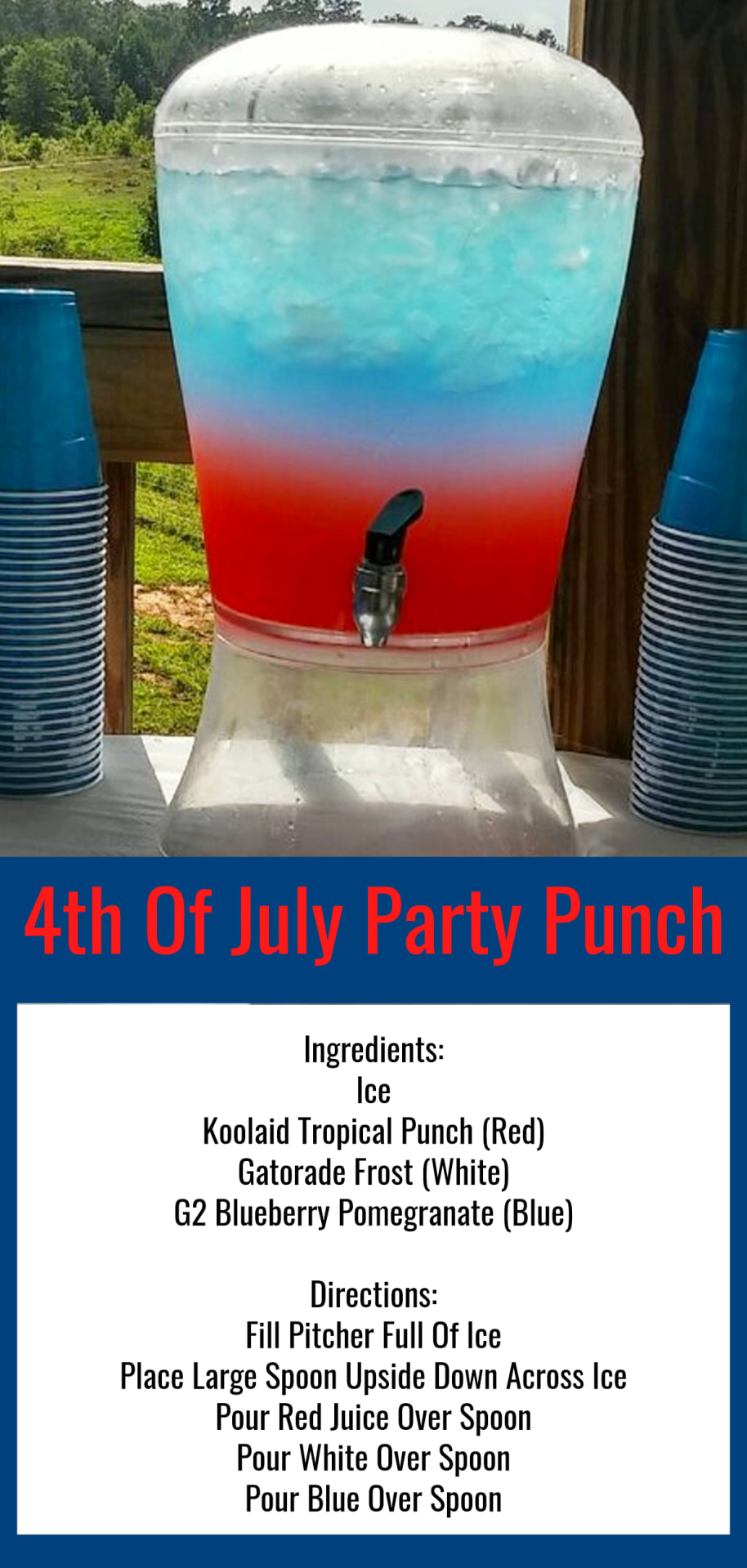 4th of July Punch Recipe - Nonalcoholic Red White and Blue Layered Party Punch for kids and those who are NOT drinking alcohol at your 4th of July party.  Lots more 4th of July party ideas and party food ideas for your July 4th party, cookout, block party, picnic, BBQ or pool party. How to make red white and blue layered punch drinks for a crowd.
