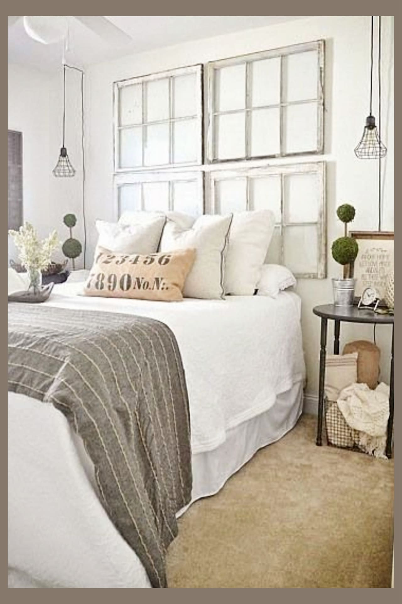 Farmhouse decor on a budget - farmhouse bedroom decorating ideas - use old farmhouse windows and window frames instead of a headboard on the wall behind your bed to get farmhouse look on a budget