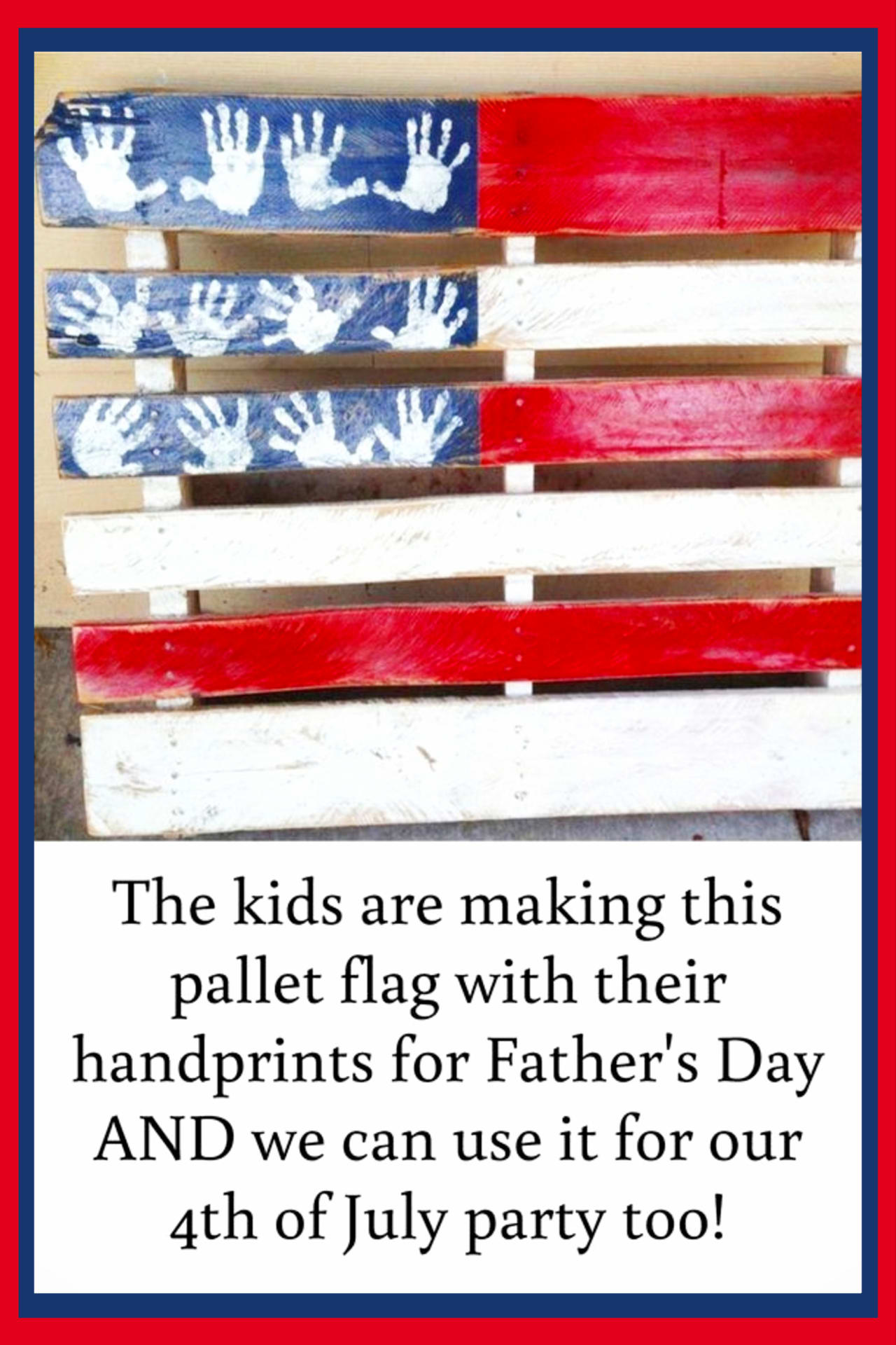 Pallet projects- easy DIY pallet projects to make or sell.  Simple beginner pallet American flag for 4th of July party and decorations - fun handprint handmade gift or craft for kids too