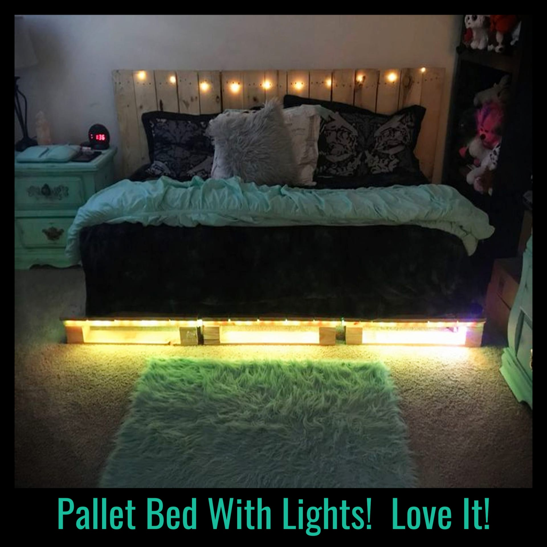 Pallet projects - easy DIY pallet furniture projects - Pallet bed with lights!  How to make a pallet bed and other simple pallet projects to make or sell for beginners