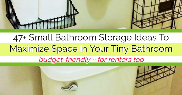 Small Bathroom Storage Ideas To Maximize Space in a Small Bathroom (for renters and those on a budget) post tagged: small bathroom storage ideas, cabinet, organizer, over toiler, ikea, pinterest,very small bathroom, diy bathroom storage hacks