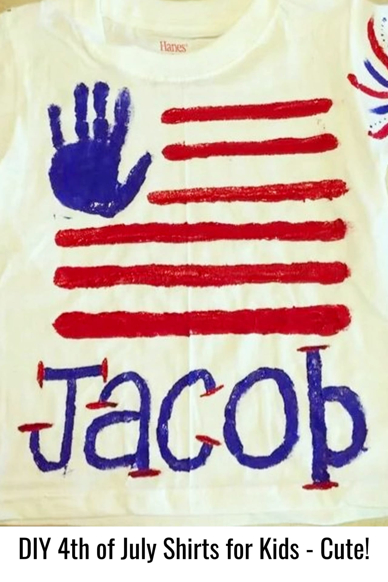 DIY 4th of July shirts for kids - 4th of July crafts for kids - handprint t-shirts for kids to make