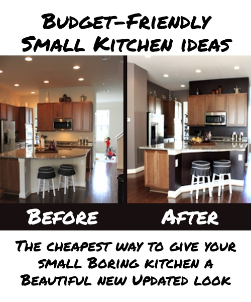Budget-Friendly Small Kitchen Ideas - Makeover Your Kitchen on a Budget. Before and After Pictures of a cheap small kitchen makeover