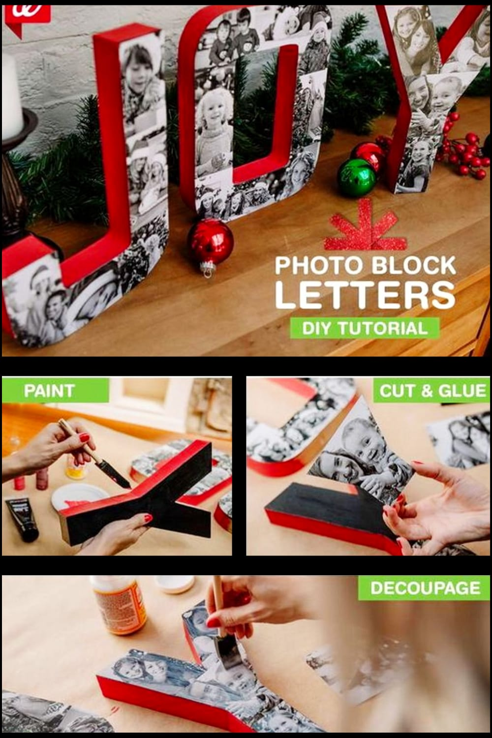 Wooden letter photo collage ideas and tutorials - how to make a picture collage on wood letters or on cardboard.  Super creative letter picture collage ideas like this Christmas wooden word photo collage to give as a handmade Christmas gift or to decorate your house in the Holiday spirit this Christmas