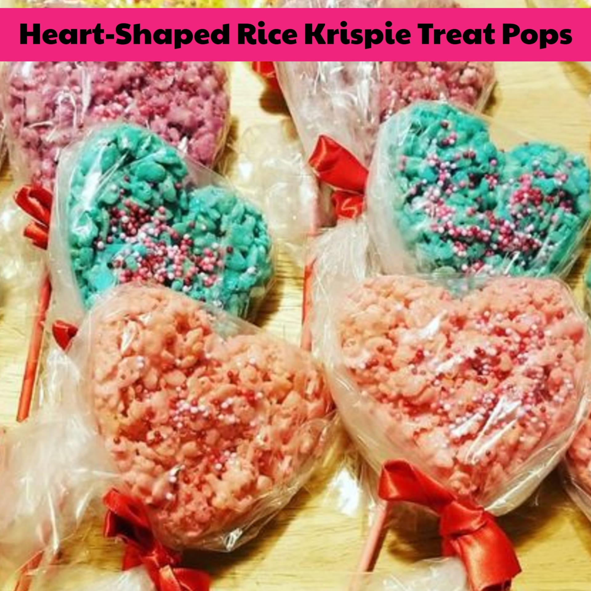 DIY school valentines for classroom, teachers or fun food for a Valentine's Day party at school - fun and easy Rice Krispie treats for parties