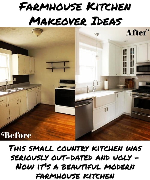 Small Farmhouse Kitchen Ideas on a Budget - This small country kitchen was seriously out-dated and ugly - Now it's a beautiful modern farmhouse kitchen