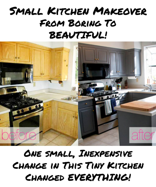 Small Kitchen Ideas on a Budget - This small U-Shaped Kitchen Makeover Gave a Fresh new Look By Only Doing ONE Cheap Thing