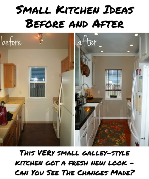 Small Kitchen Ideas - Before and AFTER - this very small kitchen had a complete makeover all on a budget!