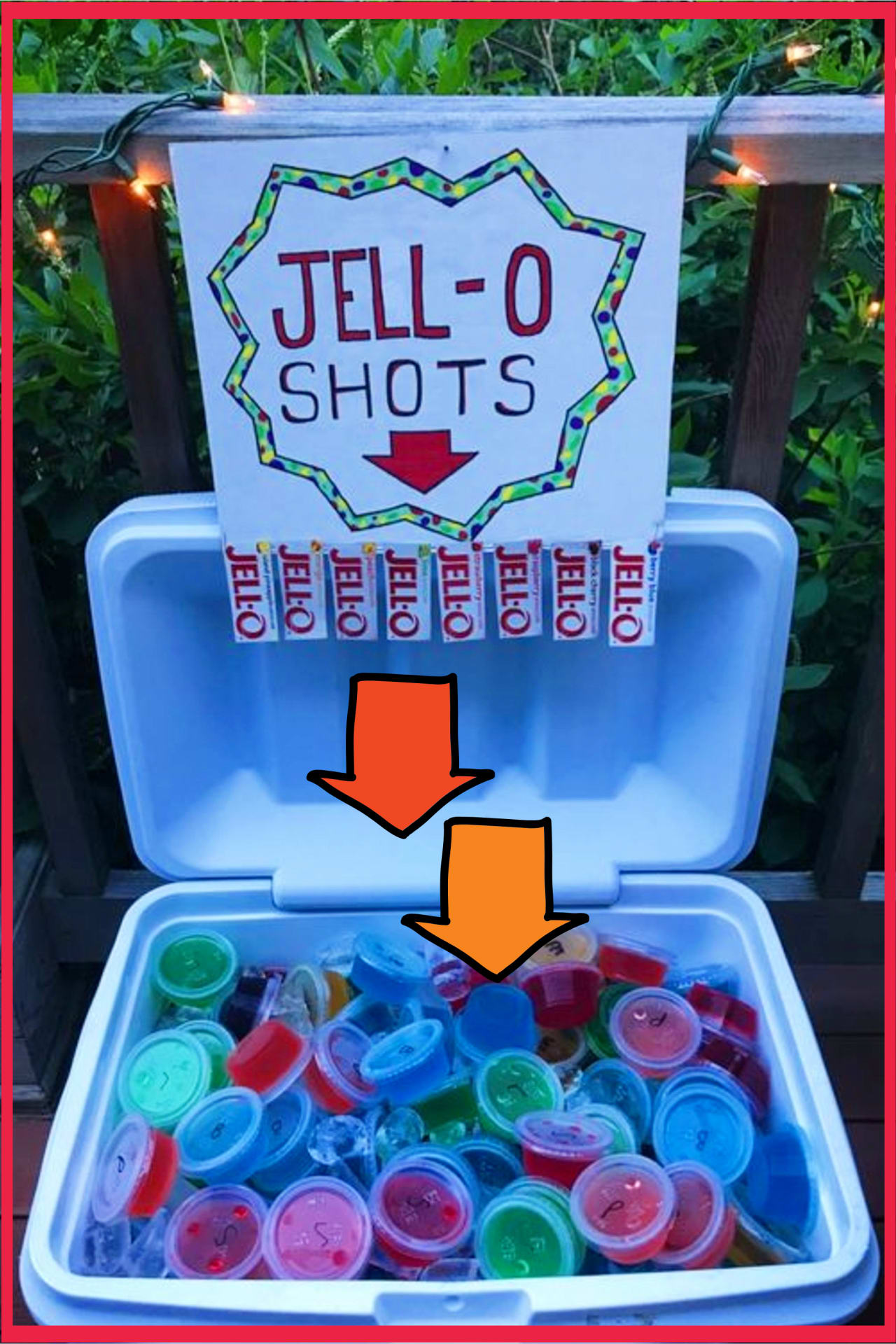 Cookout ideas - outdoor party, BBQ party, beach party (spring break!) Jello shots cooler ideas - summer party ideas