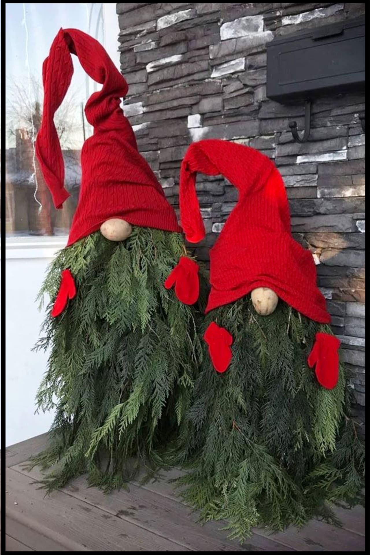 DIY Gnomes Christmas Decorations for Outdoors or Porch Outside.  Cheap and easy DIY Christmas decorating ideas for Christmas on a budget
