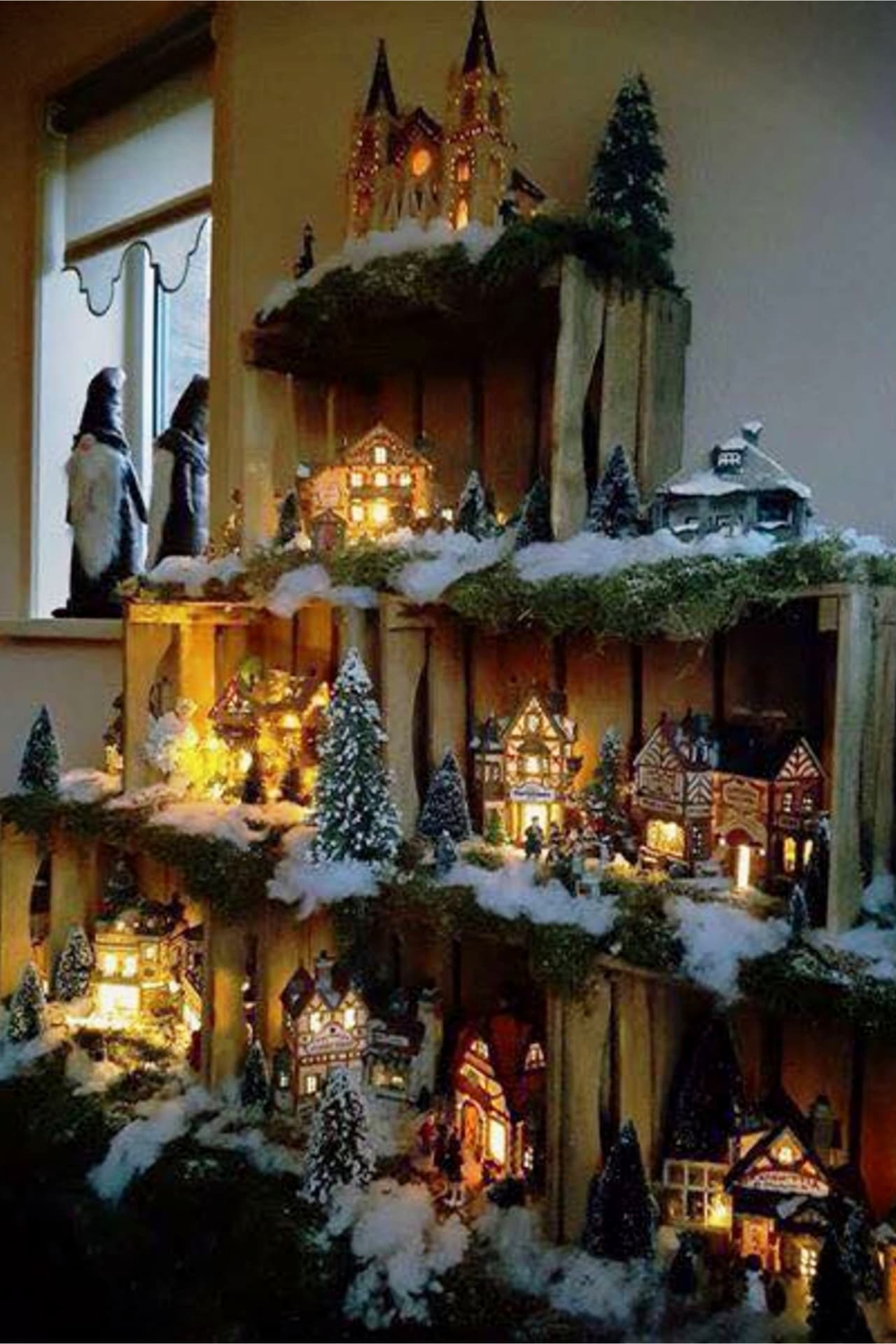 DIY Christmas Decorating Ideas - Christmas Village set up ideas - use wooden crates to display your Christmas village decorations for easy Christmas decor on a budget