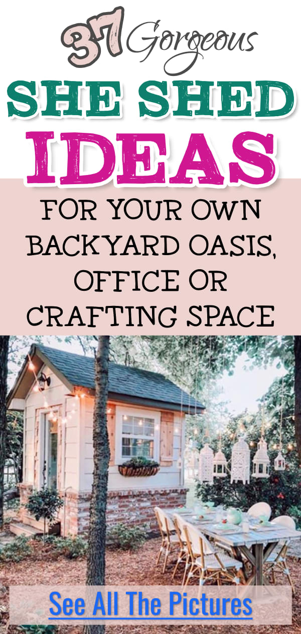 She Shed Ideas - DIY woman cave sheshed ideas for a backyard office, diva den, lady lounge, workshop studio, or small craft room on a budget. See she shed plans, interior pictures & decor in farmhouse, shabby chic glam, rustic modern and bohemian style. She sheds with bathroom, loft, porch & more garden cottage shed house ideas for a shed office, potting shed, shedquarters or a she shed for crafting. She shed inspiration & pictures for a cheap, cozy & pretty backyard she cave room.