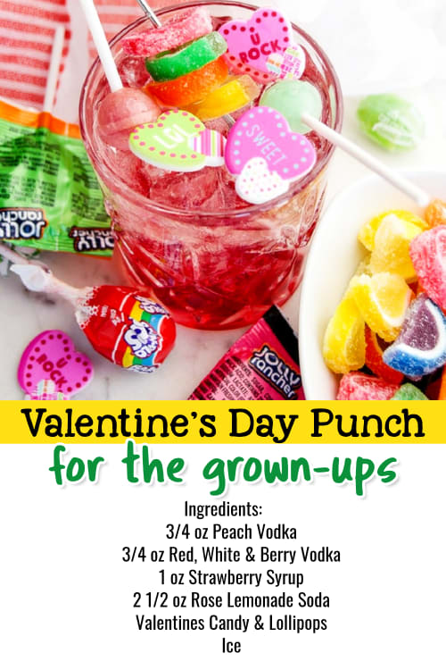 Valentines Day Party Punch - Valentines Party Ideas for Adults. Valentines Day drinks & alcoholic party punches for a crowd or for two. Vodka punch recipes for parties - easy vodka party  punch recipes with strawberries and candy.
