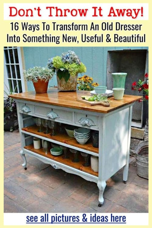 Repurposed Furniture Ideas - DIY ideas, before and after pictures and upcycling ideas for old furniture, thrift store furniture and antique furniture like this old dresser without drawers