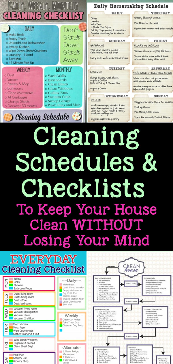 Cleaning schedules and cleaning checklists - weekly house cleaning schedule and cleaning routine checklist, daily weekly monthly cleaning schedule, monthly housekeeping schedule and everyday cleaning check lists printable daily cleaning rota