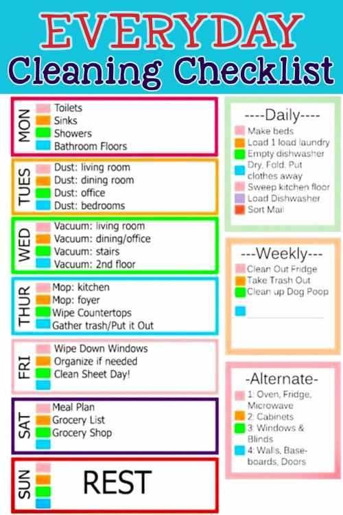Everyday cleaning list and more cleaning schedules and checklists