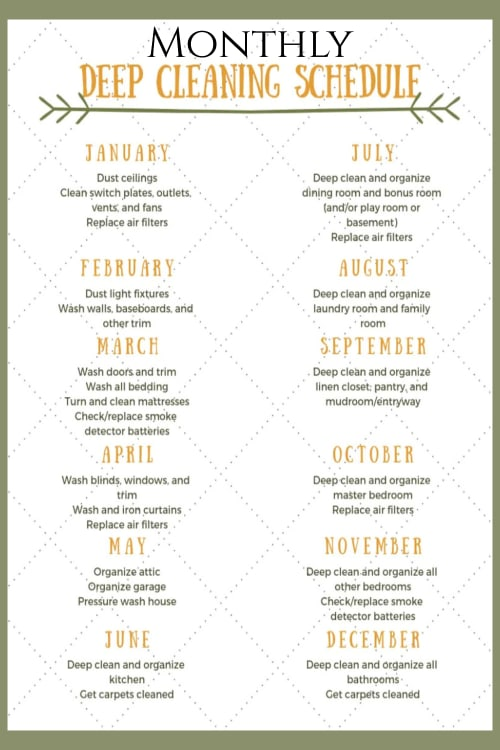 Monthly house cleaning schedule and monthly housekeeping schedule to deep clean your house (printable)
