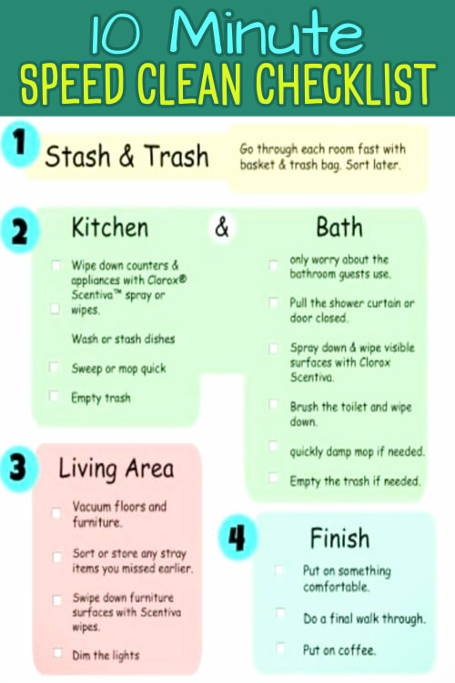 Speed Cleaning Checklist and more Cleaning Schedules