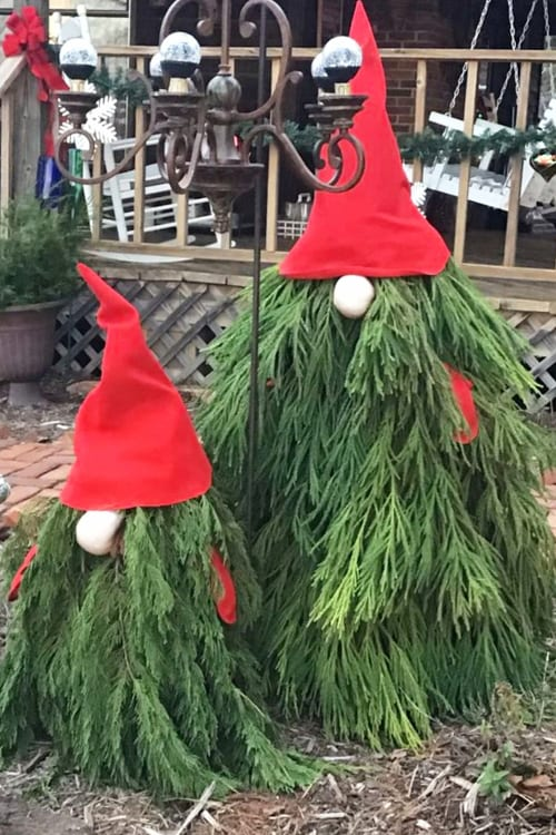 Christmas Garden Gnome Trees DIY Instructions Step by Step (hint: use a tomato cage!)