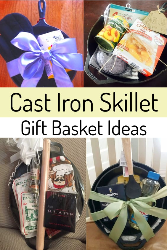 DIY Cast iron skillet gift basket ideas - makes a great housewarming gifts, homemade wedding gifts and bridal shower gift ideas too