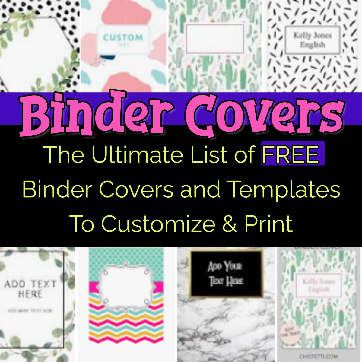 Binder Covers-Free Printable Binder Covers and Templates to Print - Binder Covers for school, Cute Binder Covers, Editable Binder Covers DIY, Black and White, Simple Professional and Business, binder covers for teachers and more free printable binder covers