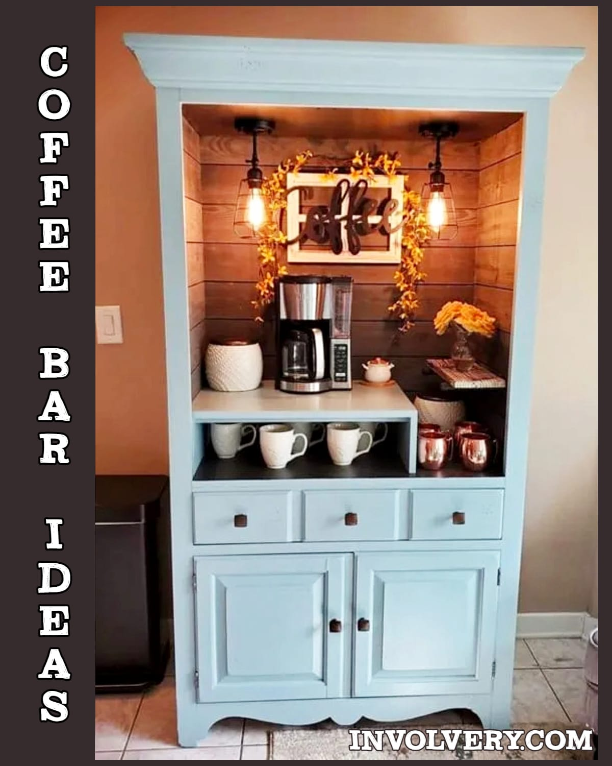 Coffee bar Ideas - Unique way to make a coffee bar for home - turn an old tall dresser or hutch into a repurposed / refurbished coffee bar for your kitchen or dining room - Gorgeous vintage rustic farmhouse look from an old chest cabinet