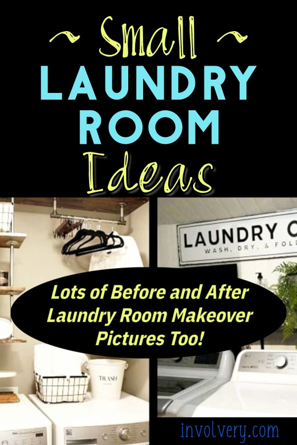 Tiny Laundry Room? Look at these very small laundry room ideas for an inexpensive laundry room update - before after pictures too