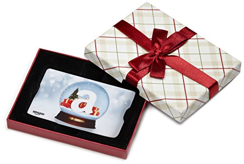 Amazon.com Gift Card for Any Amount in a Plaid Gift Box (Holiday Globe Card Design)